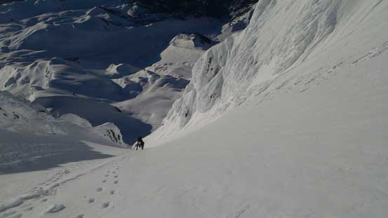 "Alex continuing down the ""funnel"" and into the couloir"