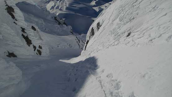 Into the twisting couloir