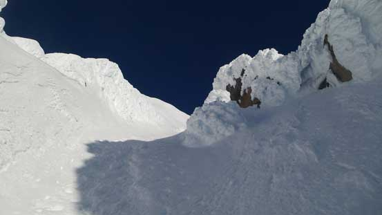 From the couloir, looking upwards