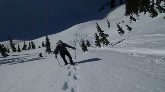 Vlad starting the long south-facing slope