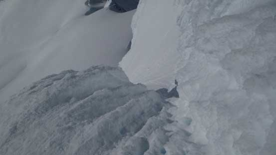 Exiting the rime ice channel, looking down