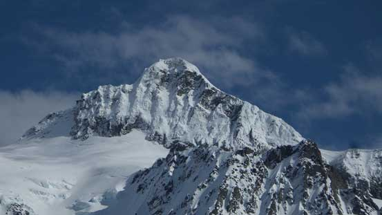 A zoomed-in view of the summit pyramid
