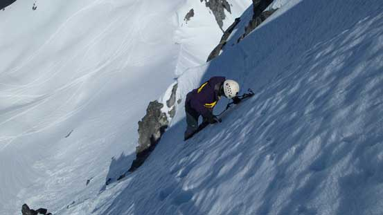Step by step traversing across a couple snow aretes