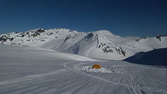 Our camp above the headwall