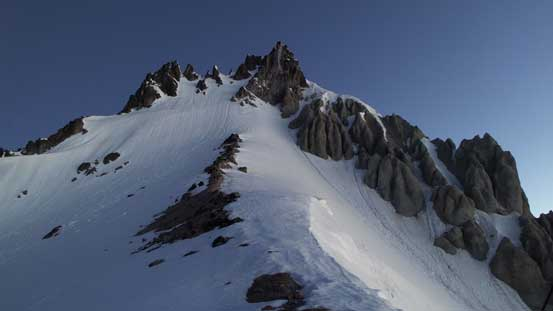 From a flat spot along the ridge, looking upwards towards the south face