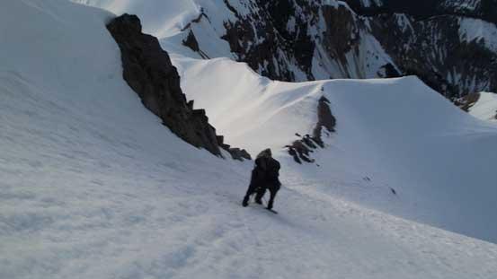 Alex climbing up the south face