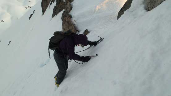 Traversing towards the base of the right-hand-side pinnacle for more views