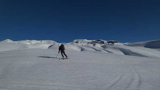 Skiing down the glacier.