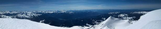 Partial summit panorama from Mt. Baker. Click to view large size.