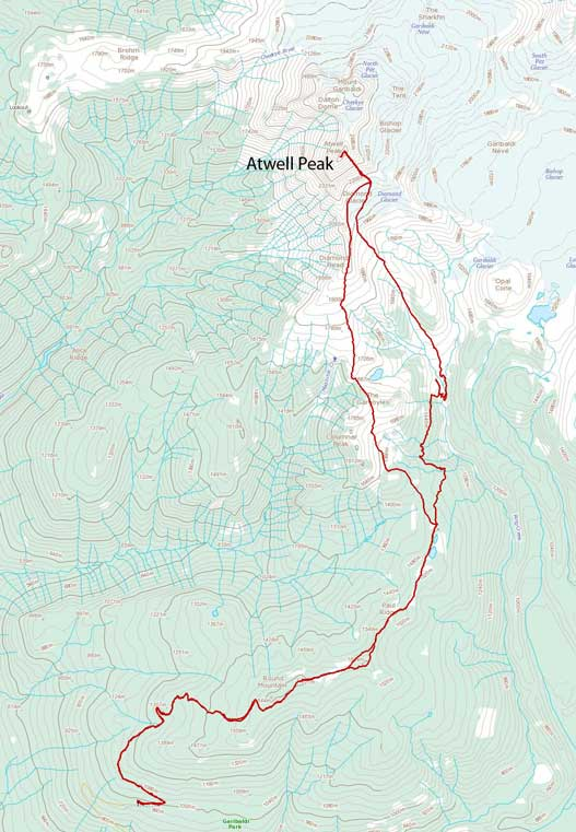 Atwell Peak approach and ascent route