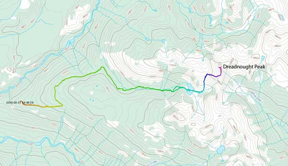 Dreadnought Peak ascent route from Watersprite Lake
