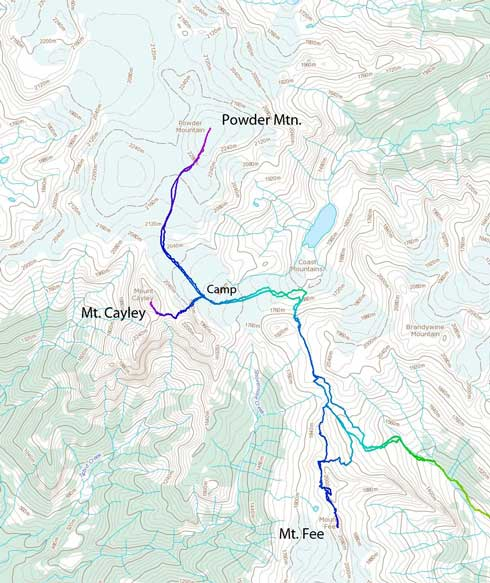 Ascent route for Mt. Fee, Powder Mountain and Mt. Cayley
