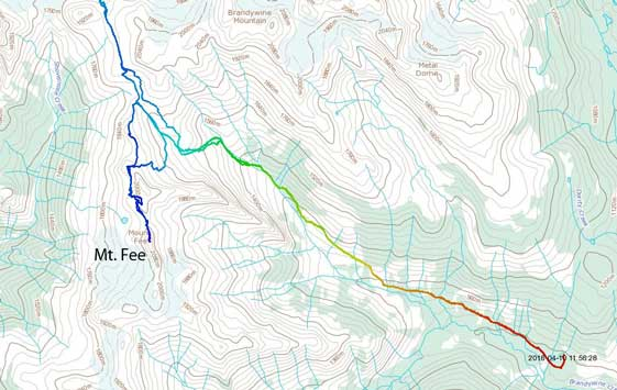 Mt. Fee (North Tower) approach and ascent route