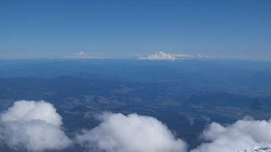 This picture shows Mt. Rainier and Mt. Adams in the same shot