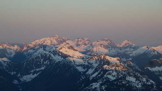 The Cheam Range on alpenglow