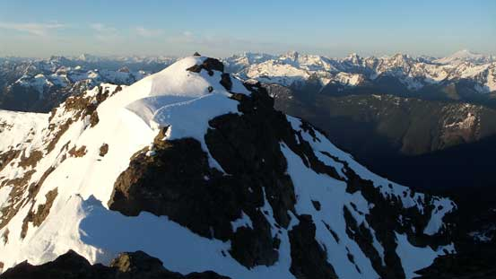 Looking back at the false summit, from the true summit