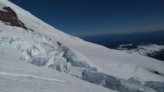 Huge crevasses on Ingraham Glacier. We were slowly merging onto it.