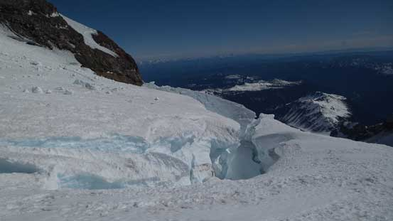 Huge cracks that we had to cross (on snow bridges)