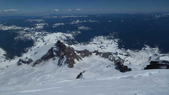 Looking steeply down and Emmons Glacier towards Little Tahoma