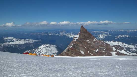 The guided team's camp and Little Tahoma