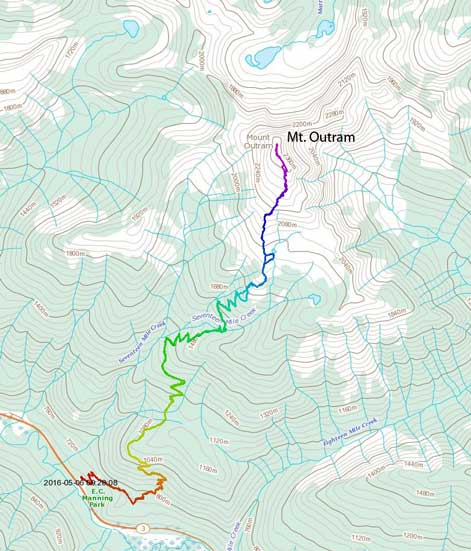 The standard ascent route on Mt. Outram