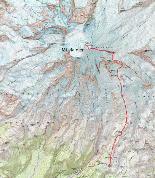 Mt. Rainier ascent route via Disappointment Cleaver