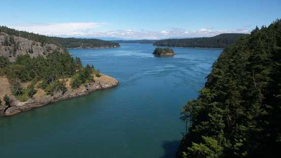 A view of Deception Pass from the bridge