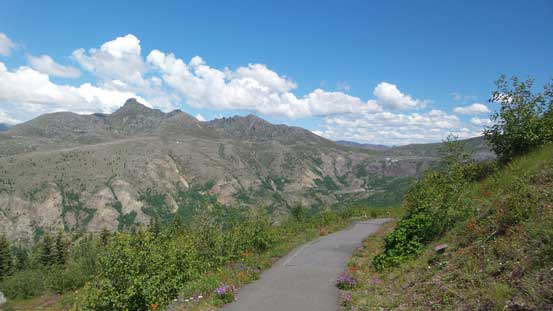 Hiking pass the highpoint of Johnston Ridge, with Coldwater Peak on left