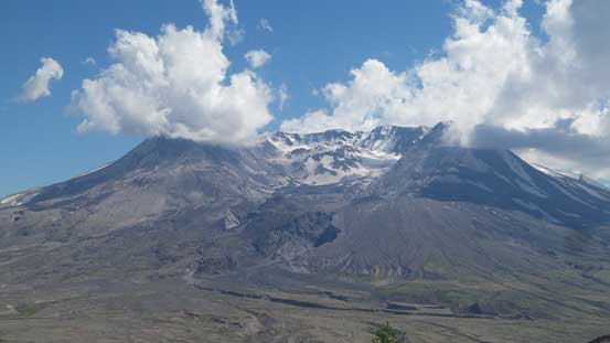 A zoomed-in view of the crater on Mt. St. Helens