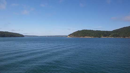A view from the ferry ride. Blakely Island on right