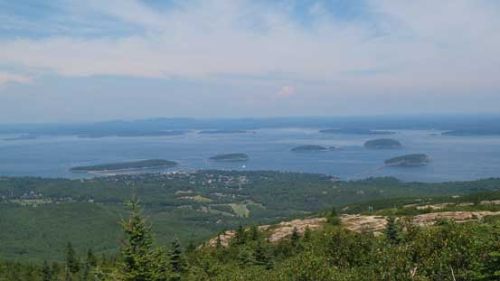 A look down at Frenchman Bay and those islands near Bar Harbour