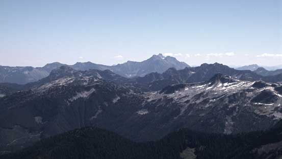 Silvertip Mountain in the background; Mt. Northgraves in front and the tiny Conway Peak in foreground