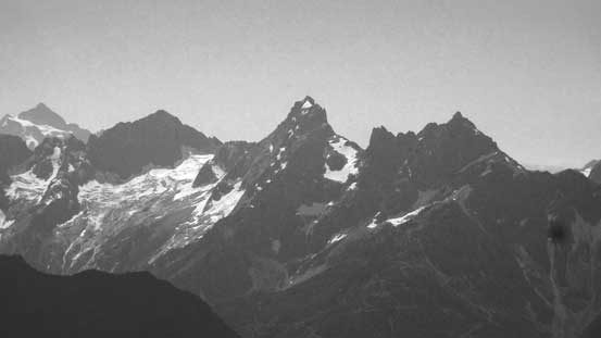 Mt. Larabee, American Border Peak, Canadian Border Peak; with Mt. Shuksan on the far left
