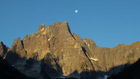 Morning view of Slesse's NE Buttress - one of the North America's 50 classics.