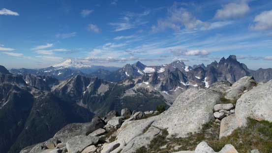 Slesse, the Border Peaks, Larabee with Mt. Baker on the left skyline
