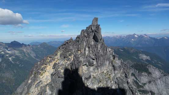 "The infamous summit block of S. Nesakwatch Spire goes at ""awkward 5.8 off-width"""