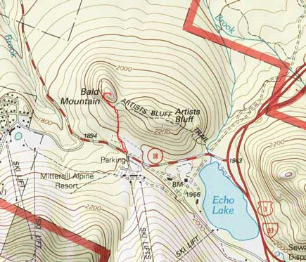 Bald Mountain hiking route