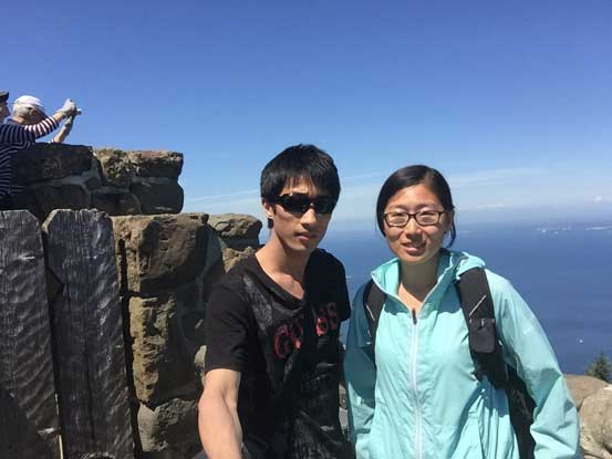 Yujia and myself on the summit observation tower of Mt. Constitution.
