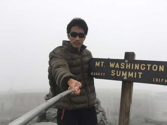 Me on the summit of Mt. Washington, the highest in northeastern United States