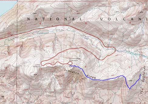 Johnston Ridge and beyond, hiking route map