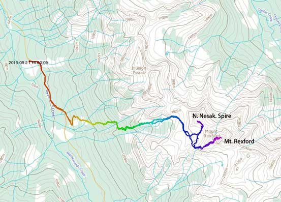 Mt. Rexford and North Nesakwatch Spire scramble route