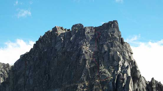 A closer look at the upper Rexford. The 4th class gully leading to false summit right of center