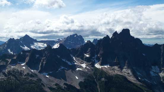 Slesse Mountain with Mt. Larabee and American Border Peak behind