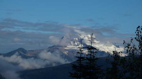 Morning view of Mt. Garibaldi massif. Not long after this it was engulfed in clouds