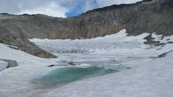 This glacial tarn hasn't quite melted yet.