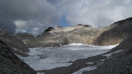 Partway up the gully, looking back at the glacier