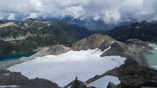Looking down at the glaciers and lakes on the east side of the divide