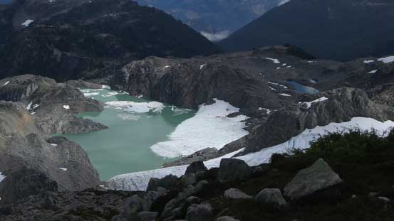 A zoomed-in view of a glacial tarn