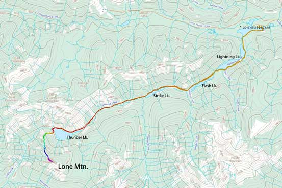 Lone Mountain scramble route via NNW Ridge