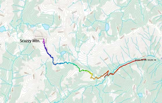 Scuzzy Mountain scramble route via SE Ridge